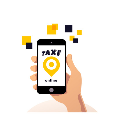 Vector online taxi service logo design isolated on smartphone. Mock up. Human han holding smartphone flat illustration. Map tag icon. Иллюстрация