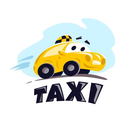 Wektor płaskie taxi samochód ilustracja na białym tle. Styl kreskówki. Zabawny ładny jazdy samochodem. Szablon projektu logo usługi taxi.