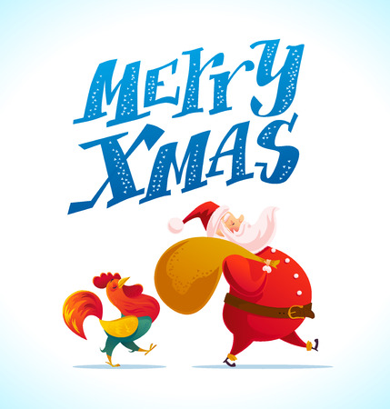 Vector santa and funny rooster characters portrait on white background. Cartoon style. New Year, merry christmas, xmas congratulation design element. Good for holiday card, banner, flayer, leaflet. Illustration