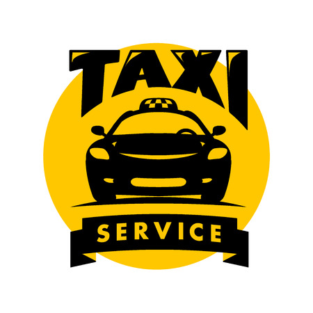 Vector flat taxi logo isolated on white background. Car face icon silhouette. Auto logo template. Taxi service brand design.