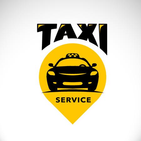 Vector platte taxi logo op een witte achtergrond. Auto gezichtje silhouet. Auto logo template. Taxi service brand design.