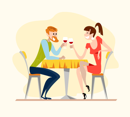 Vector flat restaurant illustration. Cartoon style. Cute dating man and lady characters. Happy guy and girl sitting at the cafe table drinking wine in the evening restaurant.