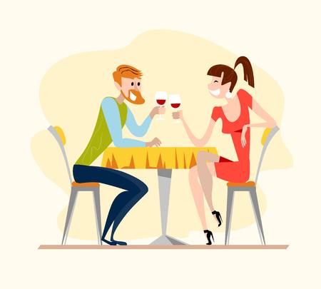 Vector ilustración restaurante plana. estilo de dibujos animados. hombre de citas y señora simpáticos personajes. Individuo feliz y la niña sentada en la mesa del café para beber vino en el restaurante por la noche.