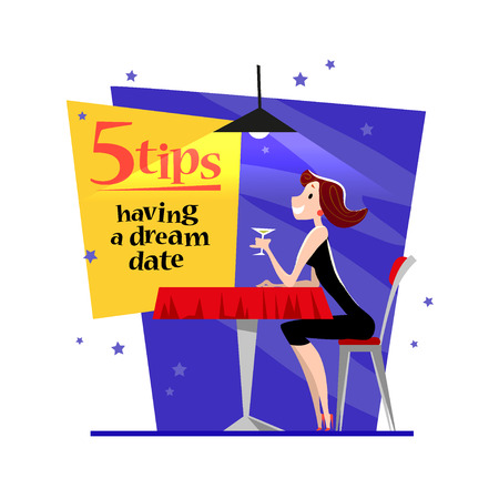 cafe table: Vector flat restaurant illustration. Cartoon style. Cute dating lady character. Happy girl sitting at the cafe table drinking wine in the evening restaurant.