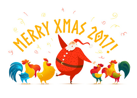 flayer: Vector Merry Christmas, Happy New year congratulation design. Santa Claus funny character. Cute rooster portrait. Cartoon style. Good for xmas postcard, card, banner, advertisement, flayer, leaflet.