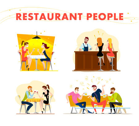 couple date: Vector flat restaurant people illustration. Cartoon style. Funny happy people at cafe, bar table. Boy and girl in love sitting in restaurant on a date. Evening party. Waiter, cheerful men characters.