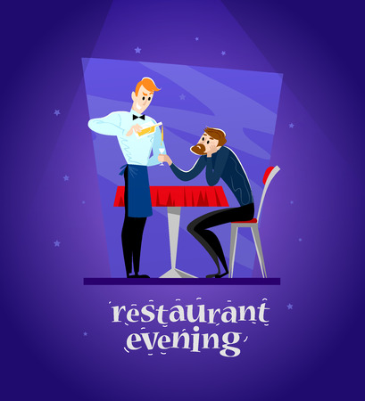 cafe table: Vector flat restaurant illustration. Cartoon style. Evening in the restaurant. Young man at the cafe table and waiter pouring a glass of alcohol.