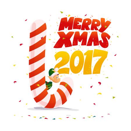 enano: Vector plano Navidad santa claus duende personaje con gran dulce piruleta. Ilustración de estilo de dibujos animados. Feliz año nuevo, feliz diseño de Navidad. Bueno para la tarjeta de felicitación, pancarta, flayer, folleto.