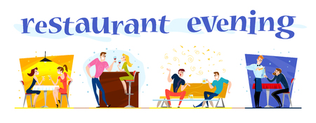 dinner date: Vector flat restaurant people illustration. Cartoon style. Funny happy people at cafe, bar table. Boy and girl in love sitting in restaurant on a date. Evening party. Waiter, cheerful men characters.