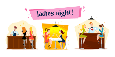 Vector flat restaurant people illustration. Cartoon style. Funny happy people at cafe table, bar table. Girl company sitting in restaurant. Evening party. Waiter, cheerful women characters. Illustration