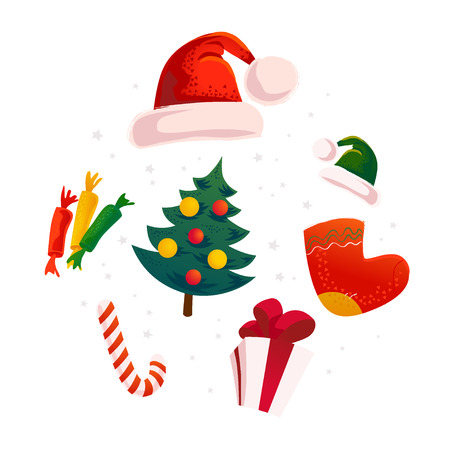 Vector flat christmas design elements set. Santa, elf hat, gift box, sweet, present sock. Cartoon style illustration. Happy New Year, Merry Xmas design element. Good for congratulation card, banner. Illustration