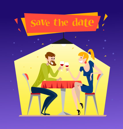 Vector dating couple flat illustration. Cartoon style. Funny cute people at cafe table. Boy and girl in love sitting at the table on a date in restaurant. Save the date illustration. Valentine day.