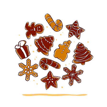 Vector collection of christmas chocolate hand drawn ginger beard isolated on white background. Cartoon style. Good for xmas and New Year gift, present packaging, pattern, ornament, decoration design.