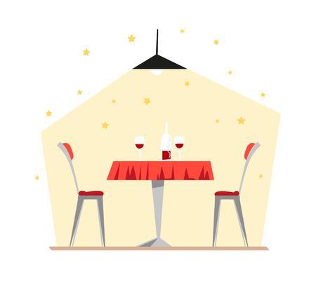 restaurant interior design: Vector flat restaurant illustration. Cartoon style. Cafe, restaurant, canteen interior design. Food industry.