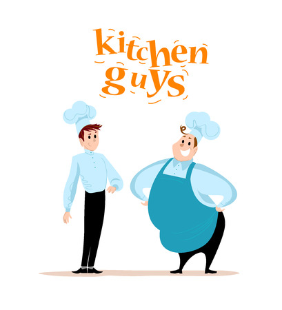 Vector flat restaurant illustration. Cartoon style. Restaurant service people portraits isolated on white background. Food team characters. Waiter, cook, man in uniform portrait. Illustration