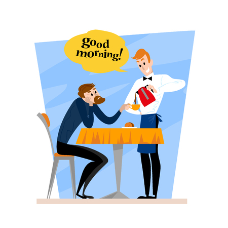 Vector flat restaurant illustration. Cartoon style. Young man sitting at the cafe table drinking coffee. Waiter telling good morning. Cafe people scene isolated on white background.