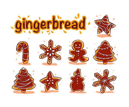 Vector collection of christmas chocolate hand drawn ginger beard isolated on white background. Cartoon style. Good for xmas and New Year gif, present packaging, pattern, ornament, decoration design.