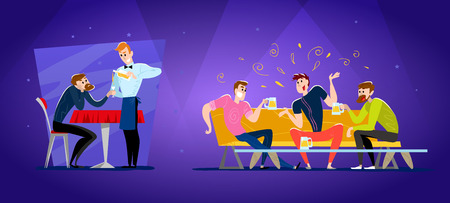 Vector flat restaurant people illustration. Cartoon style. Funny happy men at cafe table, sofa. Guy company sitting in restaurant. Evening party. Waiter, cheerful boys characters.