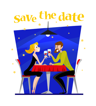 cafe table: Vector dating couple flat illustration. Cartoon style. Funny cute people at cafe table. Boy and girl in love sitting at the table on a date in restaurant. Save the date illustration. Valentine day.
