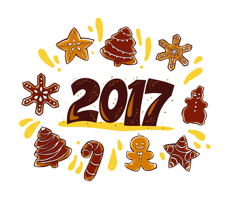 Vector New year and Merry Christmas congratulation design element with hand drawn gingerbread cookie isolated on white background. Good for xmas card, illustration, advertisement, packaging. Illustration