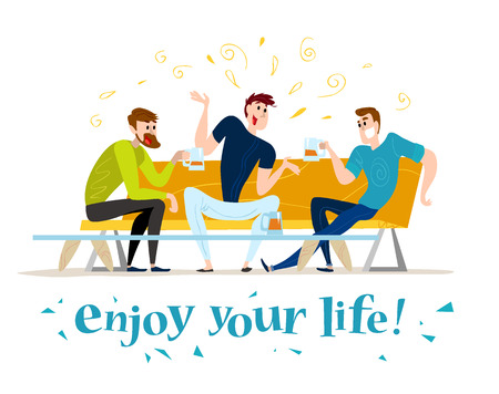 cafe table: Vector flat restaurant people illustration. Cartoon style. Funny happy men at cafe table, sofa. Guy company sitting in restaurant. Evening party. Waiter, cheerful boys characters.