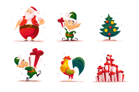 Vector flat christmas elf portrait set. Santa elf character. Cartoon style illustration. Happy New Year, Merry Xmas design element. Good for congratulation card, banner, flayer, leaflet, poster. Vetores