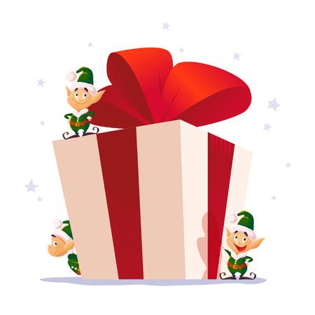 벡터 플랫 크리스마스 엘 프 세로 설정합니다. 산타 엘프 캐릭터. 만화 스타일 그림입니다. 행복 한 새 해, 메리 크리스마스 디자인 요소입니다. 축 하
