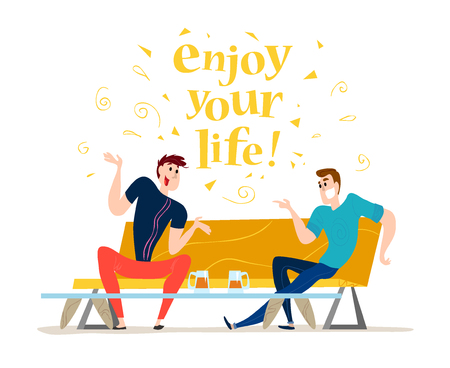 dinner date: Vector flat restaurant people illustration. Cartoon style. Funny happy men at cafe table, sofa. Guy company sitting in restaurant. Evening party. Waiter, cheerful boys characters.
