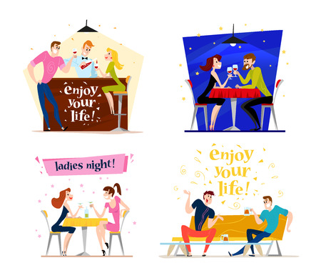bar table: Vector flat restaurant people illustration. Cartoon style. Funny happy people at cafe, bar table. Boy and girl in love sitting in restaurant on a date. Evening party. Waiter, cheerful men characters.