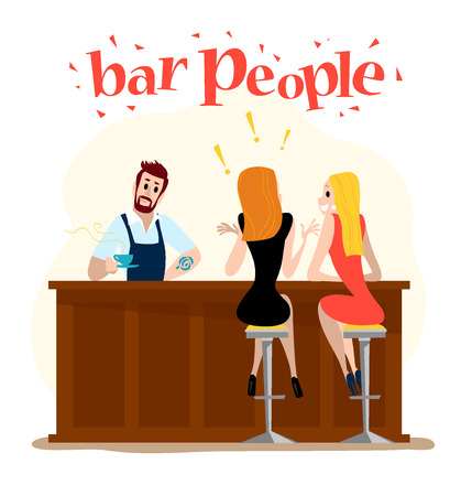 bar table: Vector flat restaurant people illustration. Cartoon style. Funny cute people at cafe table, bar table. Boy and girl sitting in restaurant on a date. Evening party. Waiter, visitor characters.