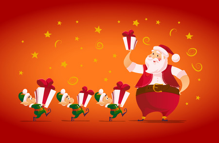 oldman: Vector flat merry christmas and happy new year illustration with santa claus and his funny elf with gift box. Cartoon style. Good for Xmas decoration, card design.