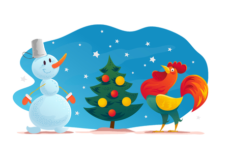 Vector funny christmas illustration with happy snowman and rooster stand at fir tree isolated. Cartoon style. Snowman carrying gifts and presents. New year illustration design element. Illustration