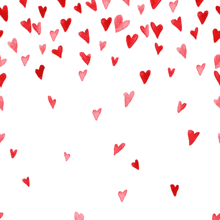 Vector watercolor artistic heart symbol illustration. Heart shape red color hand drawn sign isolated on white backdrop. Good for love card, valentine day congratulation design.
