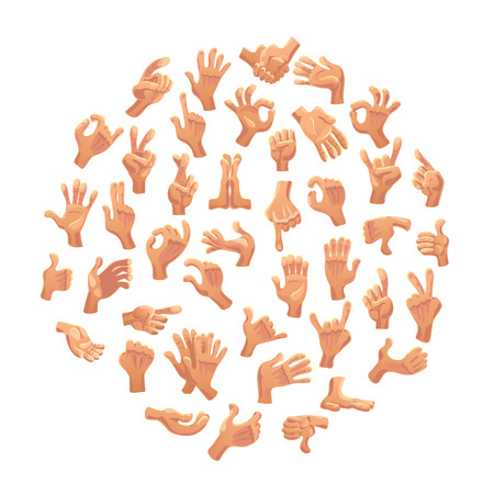 Vector collection of flat hand symbols isolated on white background. Cartoon style. Emoji icons, symbols set. Different hands and gestures signs.