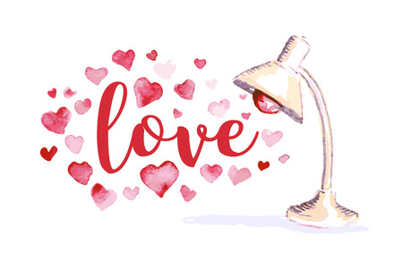 Vector Valentine day hand drawn artistic lamp design element isolated on white background. Watercolor painting. Heart shape. Good for Lovers day congratulation card. Illustration