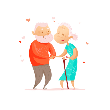 Vector flat portrait of old cute loving couple isolated on white background. Cartoon style. Love forever. Grandparents characters illustration. Happy people. Good for lovely postcard design.