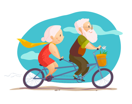 Vector flat portrait of old cute loving couple riding double bicycle. Cartoon style. Ilustrace