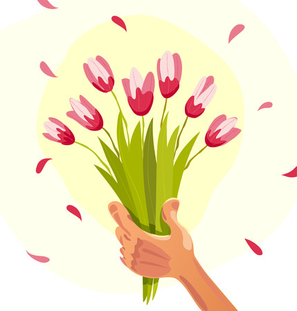 Vector flat illustration of human hand holding bouquet of spring flowers isolated on white background. Bouquet of pink tulips. Cartoon style. Good for spring card, holiday banner, poster, placard. Illustration