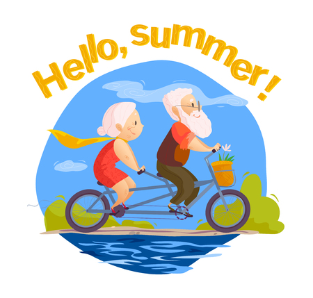 Vector flat portrait of old cute loving couple riding double bicycle. Cartoon style. Illustration