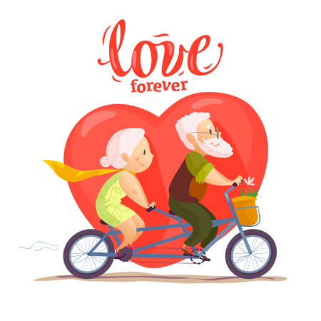 Vector flat portrait of old cute loving couple riding double bicycle. Cartoon style. Иллюстрация