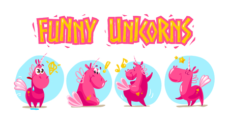 Vector collection of flat funny unicorns isolated on white background. Cartoon style. Set of emoji smile characters. Ilustrace