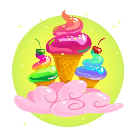 Vector flat tasty shiny ice cream illustration isolated on white background. Summer cartoon sweet candy illustration.