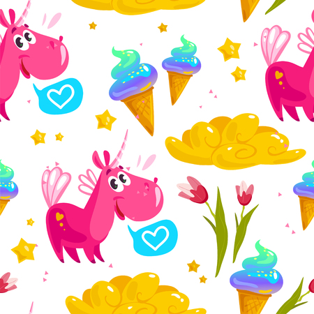 Vector flat seamless pattern with cute unicorn, stars,  ice cream cone, magic cloud, spring tulip flower and heart.