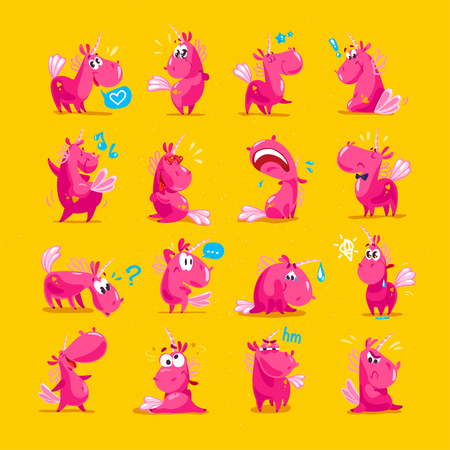 Vector collection of flat funny unicorns isolated on yellow background. Cartoon style.