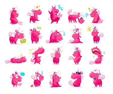 Vector collection of flat funny unicorns isolated on white background. Cartoon style. Banco de Imagens - 77372971