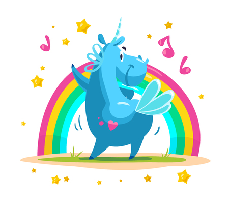 Vector portrait of flat funny unicorn character dancing at rainbow isolated on white background. Illustration