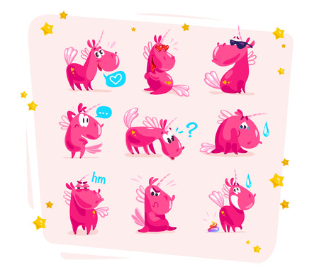 Vector collection of flat funny unicorns isolated on white background. Cartoon style. Фото со стока - 77372983