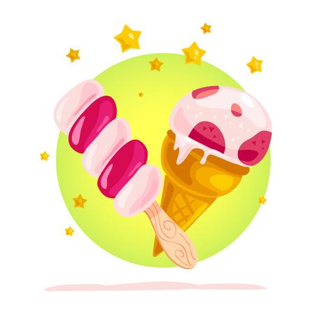 Plat illustration vectorielle de savoureux cornet de crème glacée sucrée et esquimau avec étoiles isolé sur fond blanc. Banque d'images - 77372977