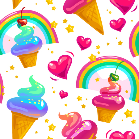 Vector flat seamless pattern with stars, rainbow, ice cream cone and heart.