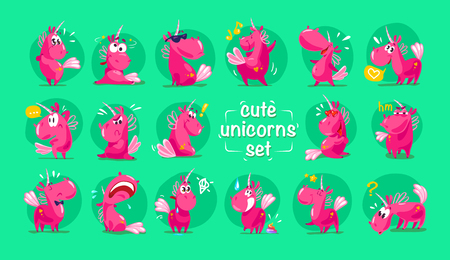 Vector flat funny unicorn characters collection on green background.